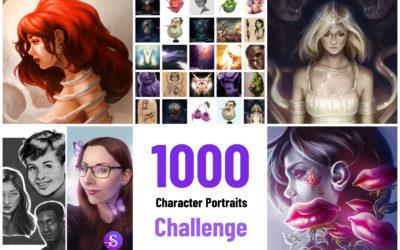 Zeichnen verbessern – Challenge Review: 1000 Character Portraits Projekt